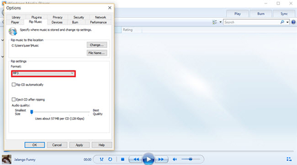 Konvertieren Sie flac in MP3 Windows Media Player